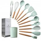 11Pcs/Set Light Green Color Silicone Kitchenware Set with Wooden Handle 12.5x12.5x33.5cm green