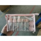 11pcs/setPortable Transparent Travel Cosmetic Bottle Empty Cosmetic Travel Lotion Containers Pink