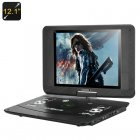 12 1 Inch Portable DVD Player has 1024x768 resolution  16 9 aspect ratio as well as 270 Degree Swivel Rotation screen  for all your multimedia entertainment