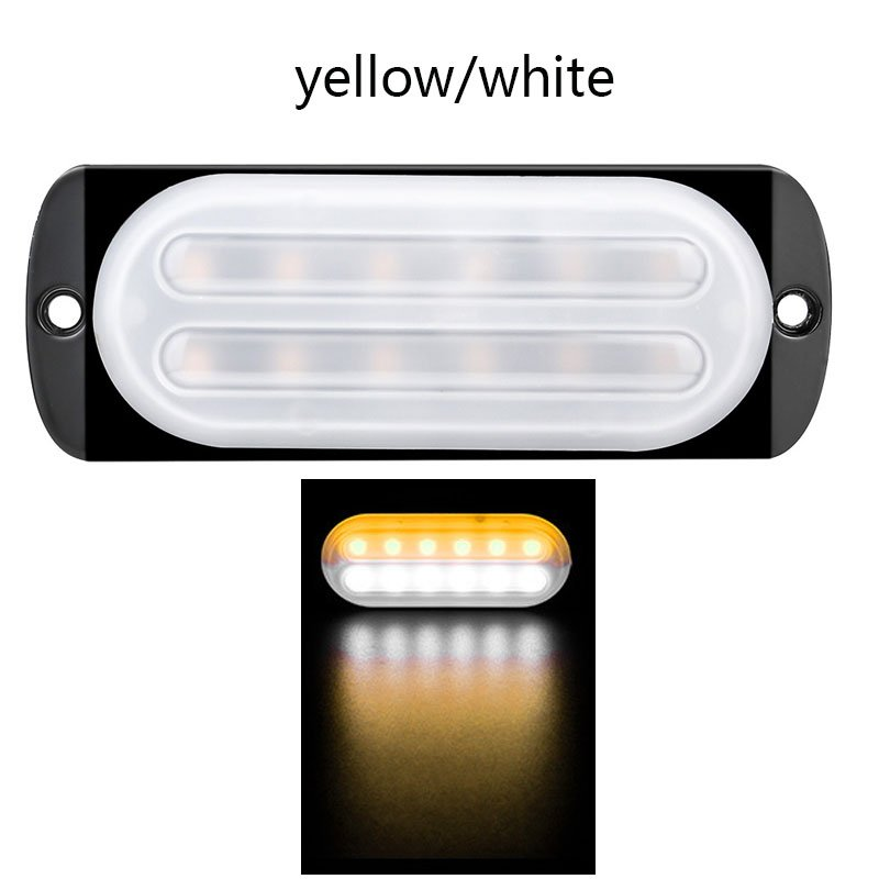 12-24V 12 LED Emergency Strobe Lights Trailers Lights Flashing Warning Truck Side Marker Lamp White+yellow