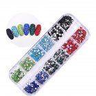 12 Grid Imitation Diamond Nail Art Box Mineral Jewelry Mixed Bride Phototherapy Nail DIY Tool 6#