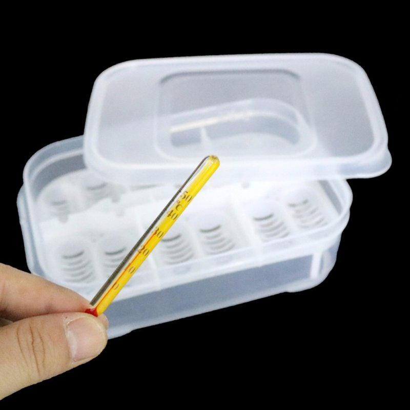 12 Holes Reptile Egg Incubation Tray with Thermometer Incubation Tool for Gecko Lizard Snake Eggs  Transparent color