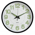 12 Inch  30cm Luminous Wall Clock Silent Quartz Clock For  Bedroom Living Room black
