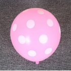 12 Inches Light Pink Dot Polka Dot Balloons - Made in USA