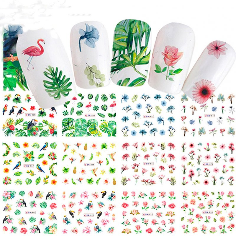 12 Pcs/set 3D Nail Sticker Flower Animal Decals DIY Decorations Manicure Nail Art Tips Stickers