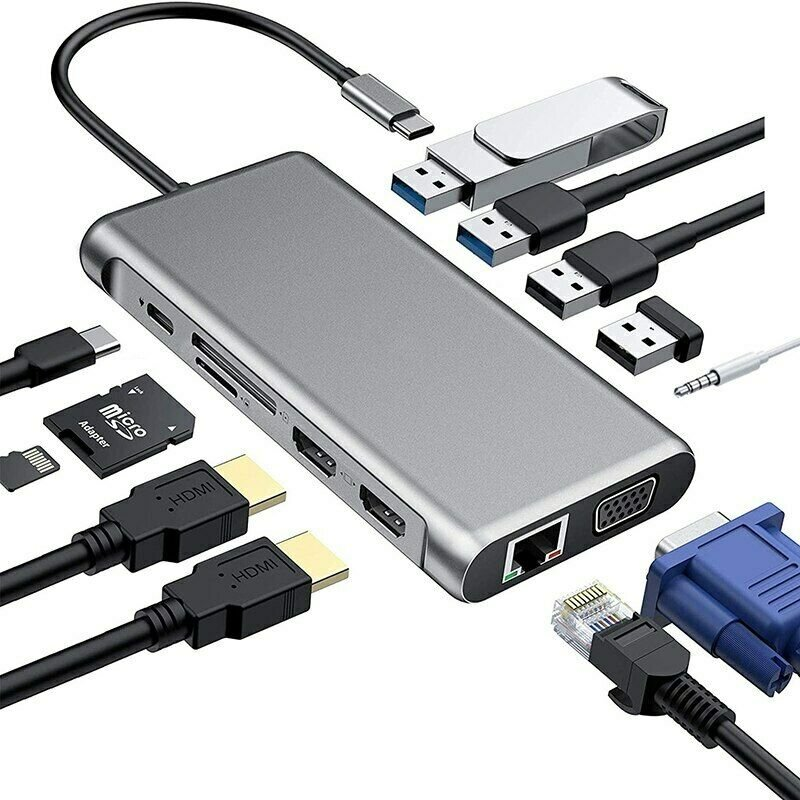 12 in 1 Type C to USB-C USB3.0 HDMI VGA PD Hub Adapter Docking Station for MacBook gray