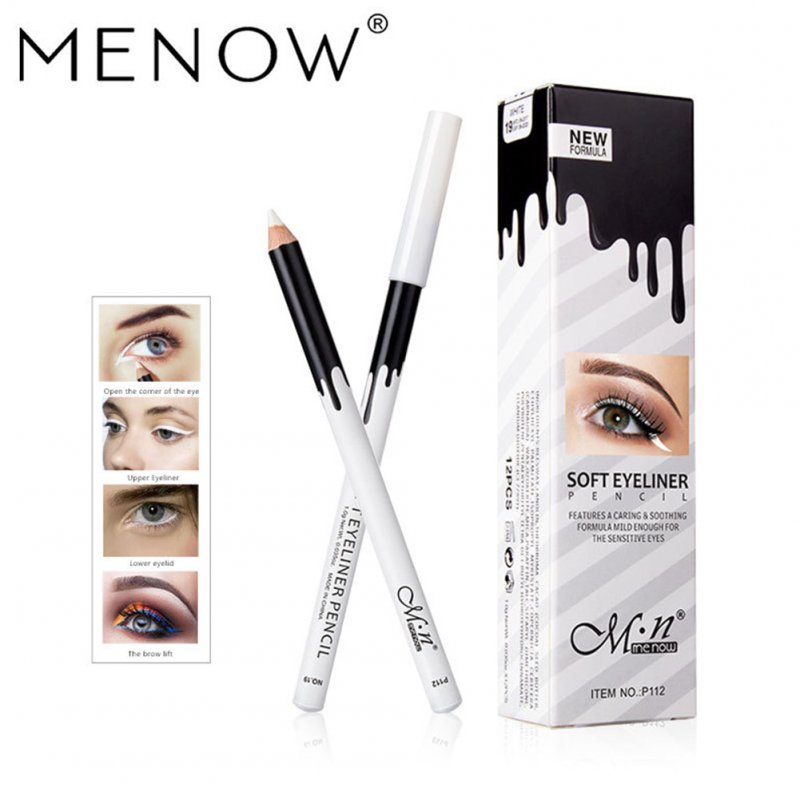 12 pcs/set Waterproof White Eyes Liner Pencils Eyeliner Makeup Smooth Easy to Wear Eyes Brightener Eye Liner Pencils