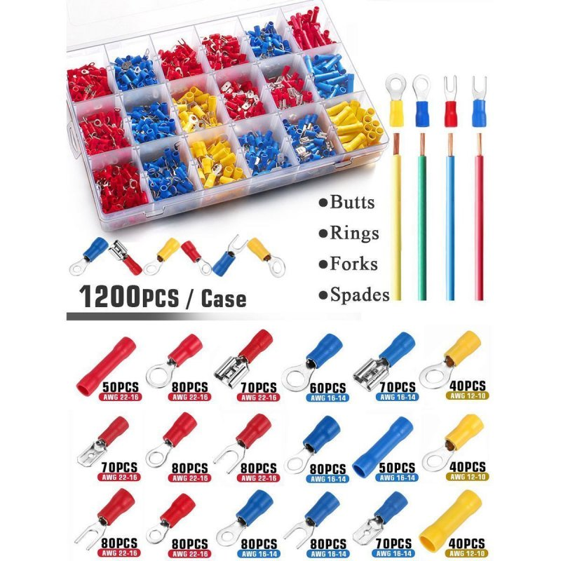 1200Pcs/box Assorted Crimp Terminals Insulated Electrical Wiring Connectors Kit