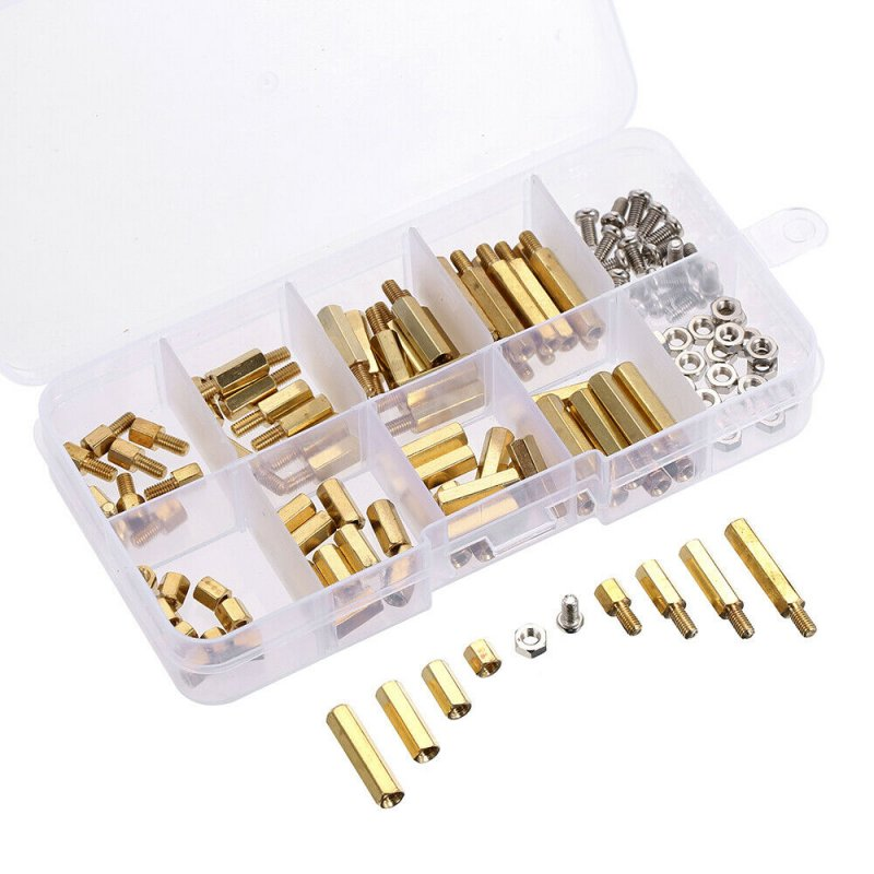 120Pcs M3 Male Female Brass Standoff Spacer PCB Board Hex Screws Nut Assortment(Box Packing) 120 piece set