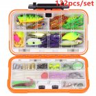 122pcs/set Multi Fishing Lure Mixed Colors Plastic Metal Bait Soft Lure Kit Fishing Tackle Wobbler Spoon Artificias Big orange box_122 pieces lure set