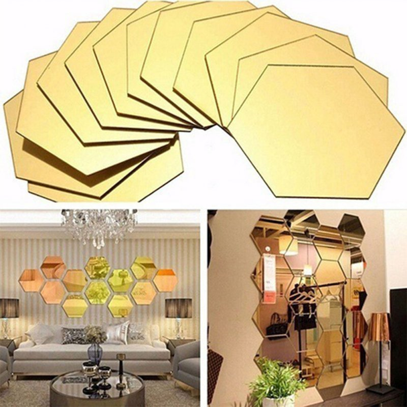 12PCS 10CM Hexagon Simple Mirror-Surface Wall Sticker Geometric DIY Art Mural Home Decoration Wall Ornament Golden