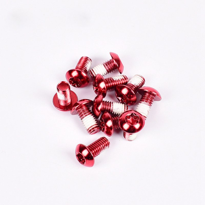 12PCS/Pack Colorful MTB Bike Bicycle Disc Brake Rotor Torx T25 Bolts Stainless Steel M5*10mm Road Bike Disc Brake Rotor Screws Red 12 / box