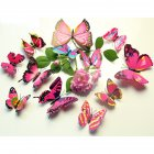 12PCS Simulate 3D Butterfly Wall Sticker with Magnet Elegant Colourful Mural Wall Decoration for Fridge Computer TV Backdrop Wall Living Room Bedroom  Colorful - pink