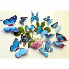 12PCS Simulate 3D Butterfly Wall Sticker with Magnet Elegant Colourful Mural Wall Decoration for Fridge Computer TV Backdrop Wall Living Room Bedroom  Colorful - blue
