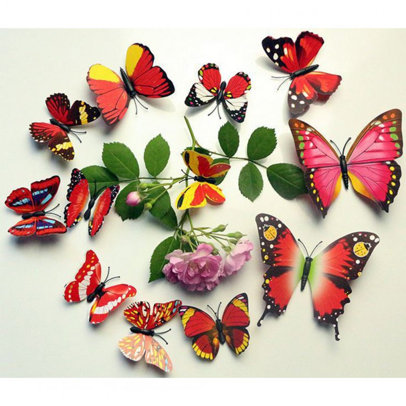 12PCS Simulate 3D Butterfly Wall Sticker with Magnet Elegant Colourful Mural Wall Decoration for Fridge Computer TV Backdrop Wall Living Room Bedroom  Colorful - red