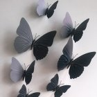 12PCS Simulate 3D Butterfly Wall Sticker with Magnet Elegant Colourful Mural Wall Decoration for Fridge Computer TV Backdrop Wall Living Room Bedroom  pure black