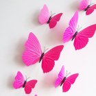 12PCS Simulate 3D Butterfly Wall Sticker with Magnet Elegant Colourful Mural Wall Decoration for Fridge Computer TV Backdrop Wall Living Room Bedroom  Pure red