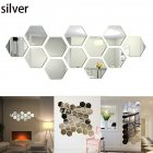 12Pcs Acrylic Hexagon 3D Art Mirror Wall Sticker Home DIY Decor Silver_80x70x40mm