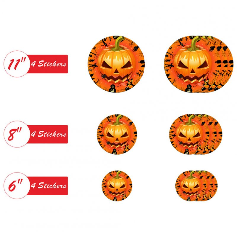 12Pcs Halloween Round Floor Sticker Decor Living Room Scary Eyes Pumpkin Wall Sticker Mural Decals HW004