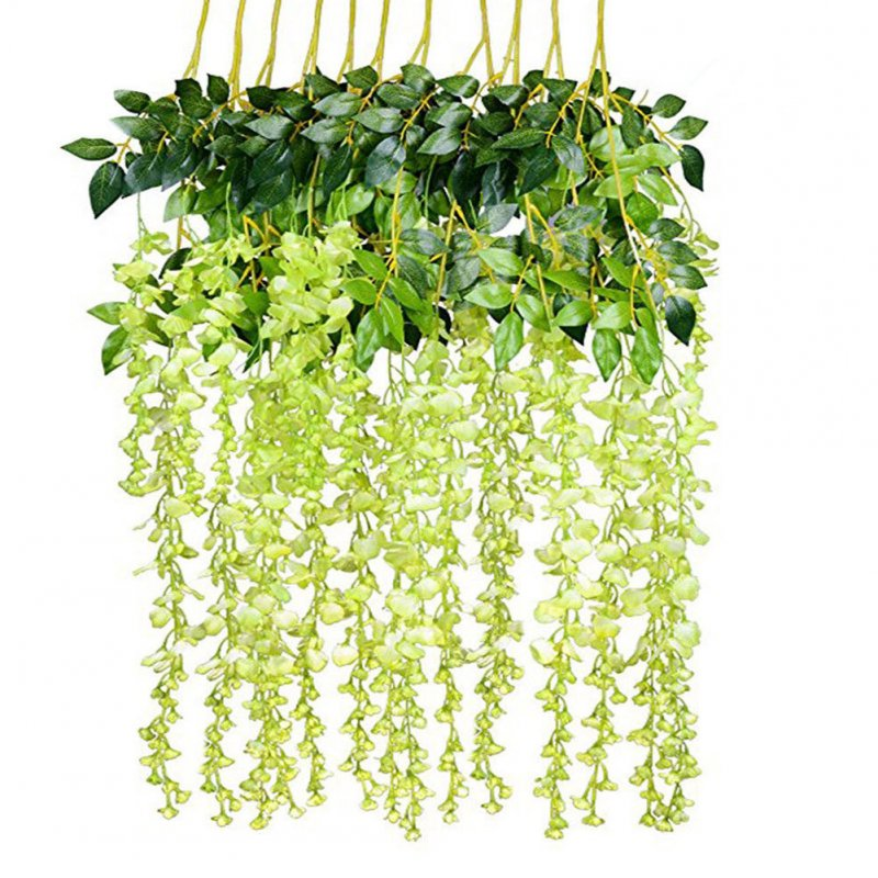 12Pcs/Set Artificial Silk Wisteria Leaf for Garden Room Wedding Decoration green