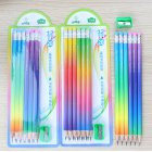 12Pcs Set Wooden Lead Pencil Set with Pencil Sharpener for School Student Supplies 2B