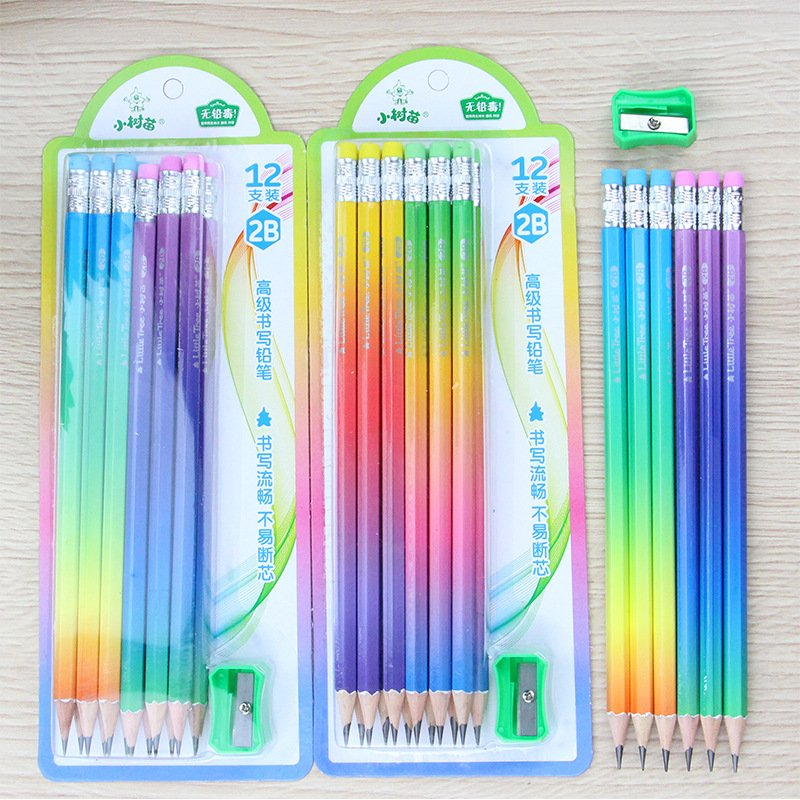 12Pcs/Set Wooden Lead Pencil Set with Pencil Sharpener for School Student Supplies 2B