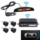 12V Car LED Parking Sensor Kit 4 Sensors 22mm Backlight Display Reverse Backup wireless Radar Monitor System  black