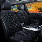 12V Heating Car Seat Cover Front Seat Cushion Plush Heater Winter Warmer Control Electric Heating Protector Pad Love black-two seater