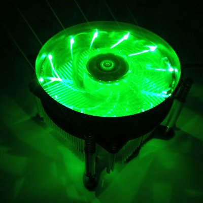12v Silent Computer Case 3pin Cpu Cooling Led Lighting Cooler Fan Heatsink Intel 115x Platform Green Light