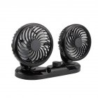 12V24v  Double-headed Van Minivan Refrigeration Powerful Car Electric Fan Black without bracket