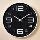 12inch Round Wall Clock Bedroom Kitchen Quartz Silent Sweep  Movement Clocks White frame black background