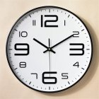 12inch Round Wall Clock Bedroom Kitchen Quartz Silent Sweep  Movement Clocks Black frame on white