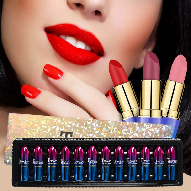 12pcs Lipstick Set 12 Color Matte Non-stick Cup Lipstick Moisturizing Cream Moisturizing lipstick 12 colors