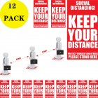 12pcs Stickers Social Distancing Keep Your Distance Stand Here Line Crowd Control Floor Sticker Decals