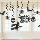 13Pcs/Set Black Glitter Skull Spiders Hanging Pendant for Halloween Party Decoration