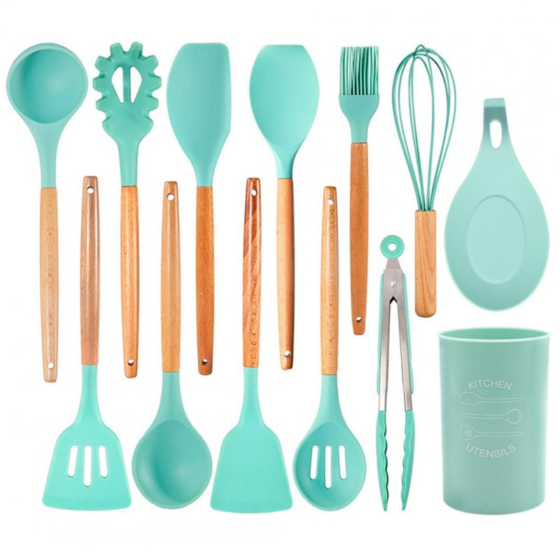 13Pcs/set Silicone Kitchenware Wooden Handle Cooking Kitchen Tools with Storage Bucket As shown_13-piece set