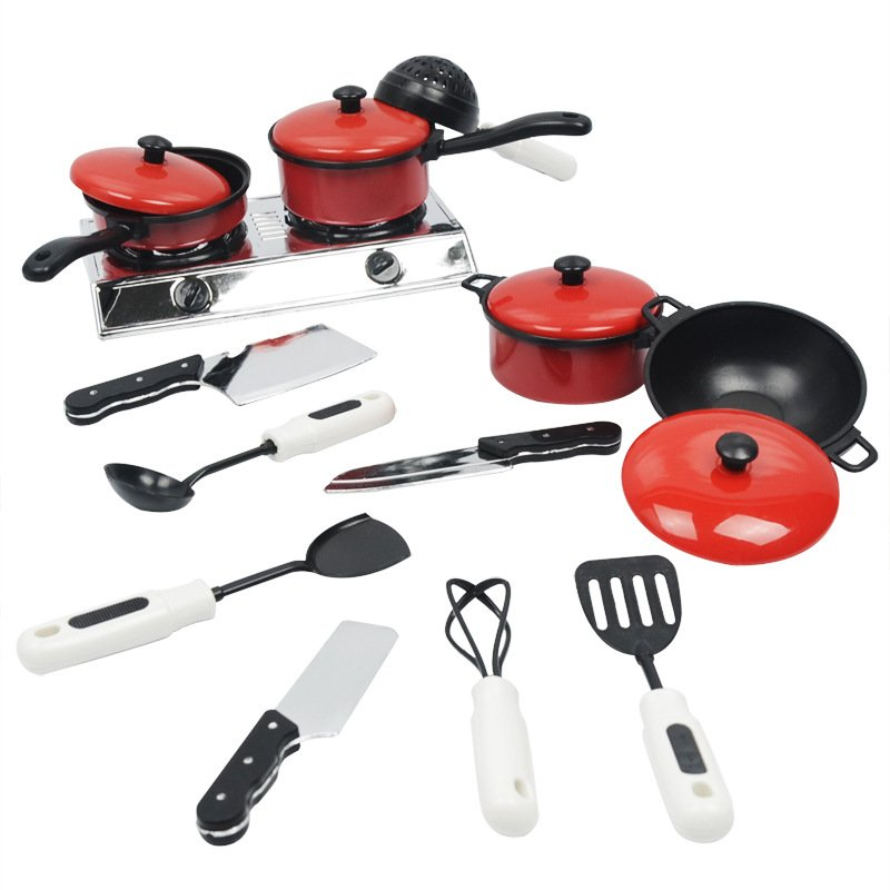 13pcs/set Children Play House Game Props Simulation Kitchen Utensils Children's Educational Toys Cooking Toys Kitchen Toys red