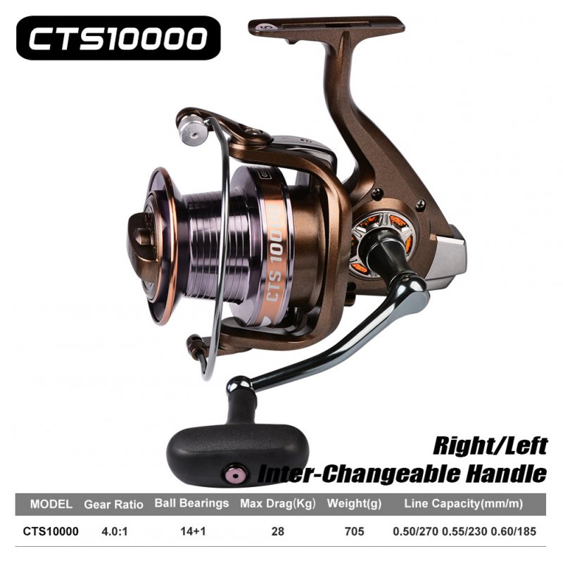 14+1bb Bearing Fishing Reel Max Drag Full Metal Spinning Reel Spinning Reel Long Casting Fishing Reel CTS10000