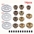14 Pcs Metal 48P Spur Gear 92T 85T 80T 18T Brush / Brushless Motor Pinion Gears 19T 20T 21T 22T 23T 24T 25T 26T 27T 28T for Sakura D3 XI Zero S 1:10 RC Drift Car 14pcs
