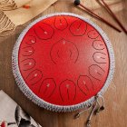 14-inch 15-tone Steel Tongue Drum B-grade Carbon Steel Color Hollow Drum Percussion Instrument For Adult And Child [D-tone Lotus Heart Model] Carbon Steel-China Red