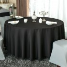 140cm Solid Table Cloth Round Satin Tablecloth Wedding Party Restaurant Home Table Cover  black_Round 140cm