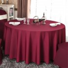 140cm Solid Table Cloth Round Satin Tablecloth Wedding Party Restaurant Home Table Cover  Red wine_Round 140cm