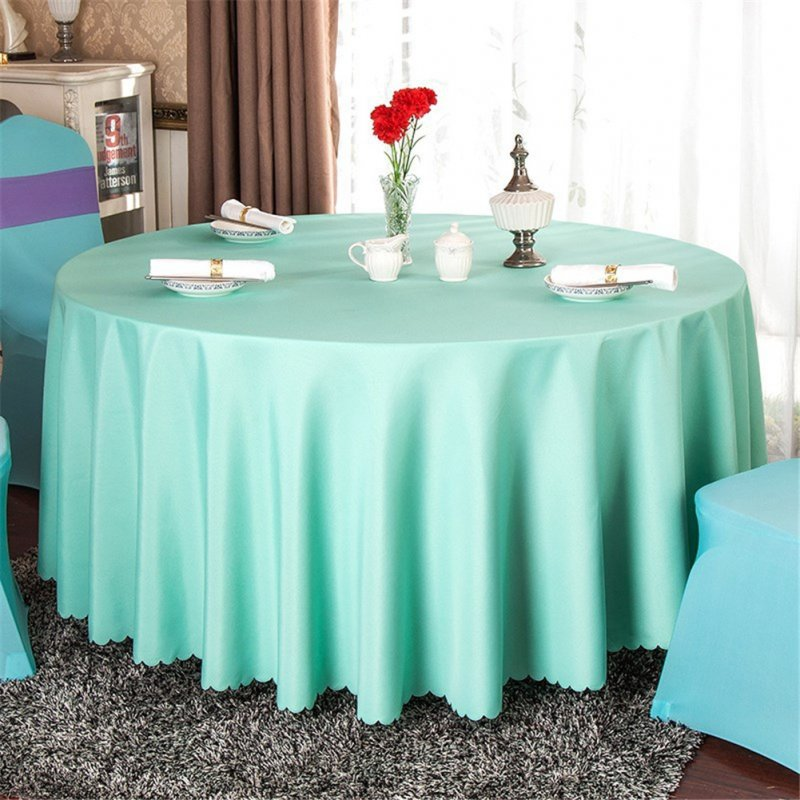 140cm Solid Table Cloth Round Satin Tablecloth Wedding Party Restaurant Home Table Cover  Light green_Round 140cm