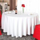 140cm Solid Table Cloth Round Satin Tablecloth Wedding Party Restaurant Home Table Cover  Pure white_Round 140cm