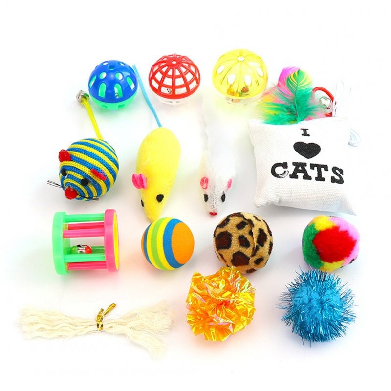 14Pcs/Set Simulate Mouse Bell Plush Ball Toy Set for Pet Cats 14 pcs/set