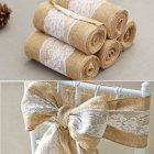 15 240 CM Vintage Jute Burlaps with White Lace Roll Craft Ribbon for Wedding Decoration in Table Runner Chair Sashes