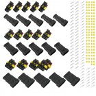 15 Kits Waterproof Electrical Wire Connector Plug 2/3/4 Pins Way Car Auto Sealed  black