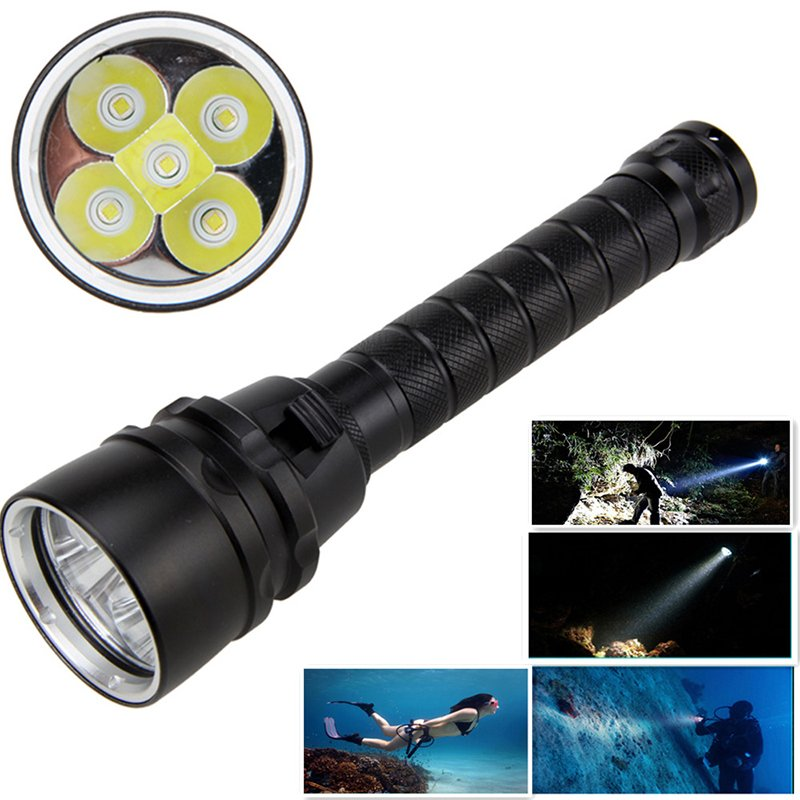 15000LM XML-T6 LED Strong Light Diving Flashlight Torch Underwater Waterproof Light Tactical Lantern lamp black