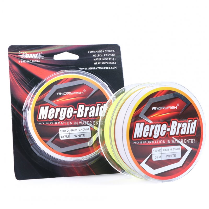 150yd/137m Fishing Line PE Fire Pure Fluorocarbon Coated Merge-Braid 8 Strands Braided Fishing Line yellow_0.28mm-30LB