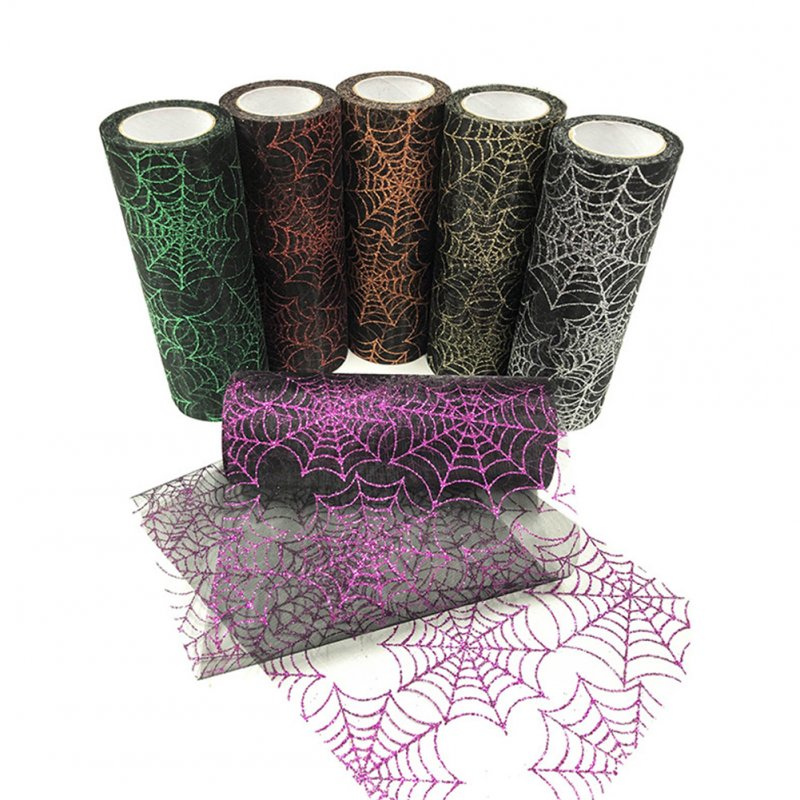 15CM*10Yards Organza Tulle Roll with Spider Web Pattern for Halloween Party Decoratioin Black+purple